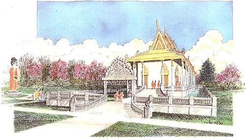Portland Buddhist Temple Drawing